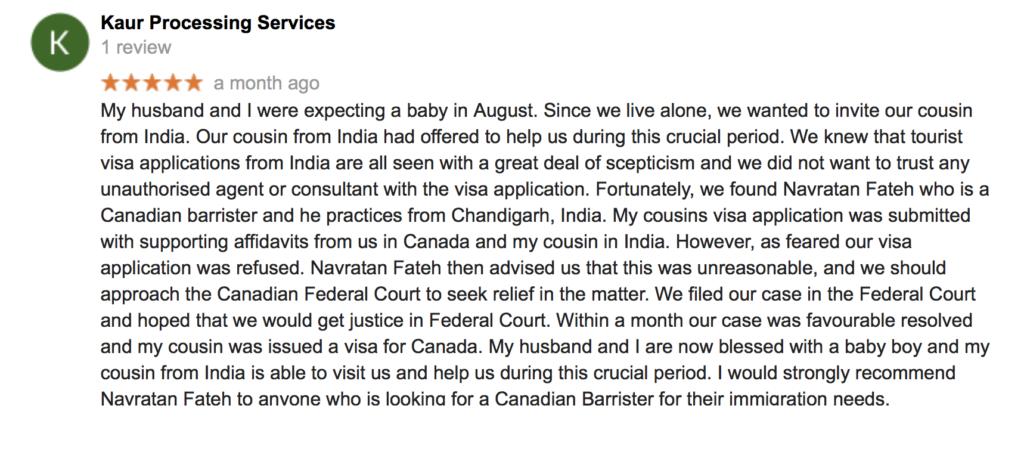 Temporary Resident Visa - Client Testimonial