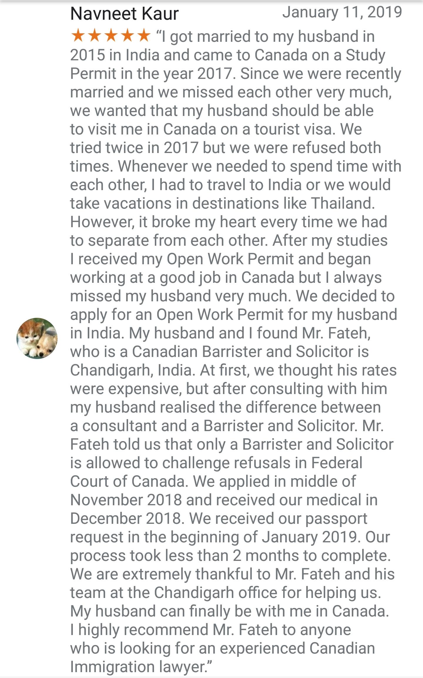 Spouse Visa Fateh Law Corporation