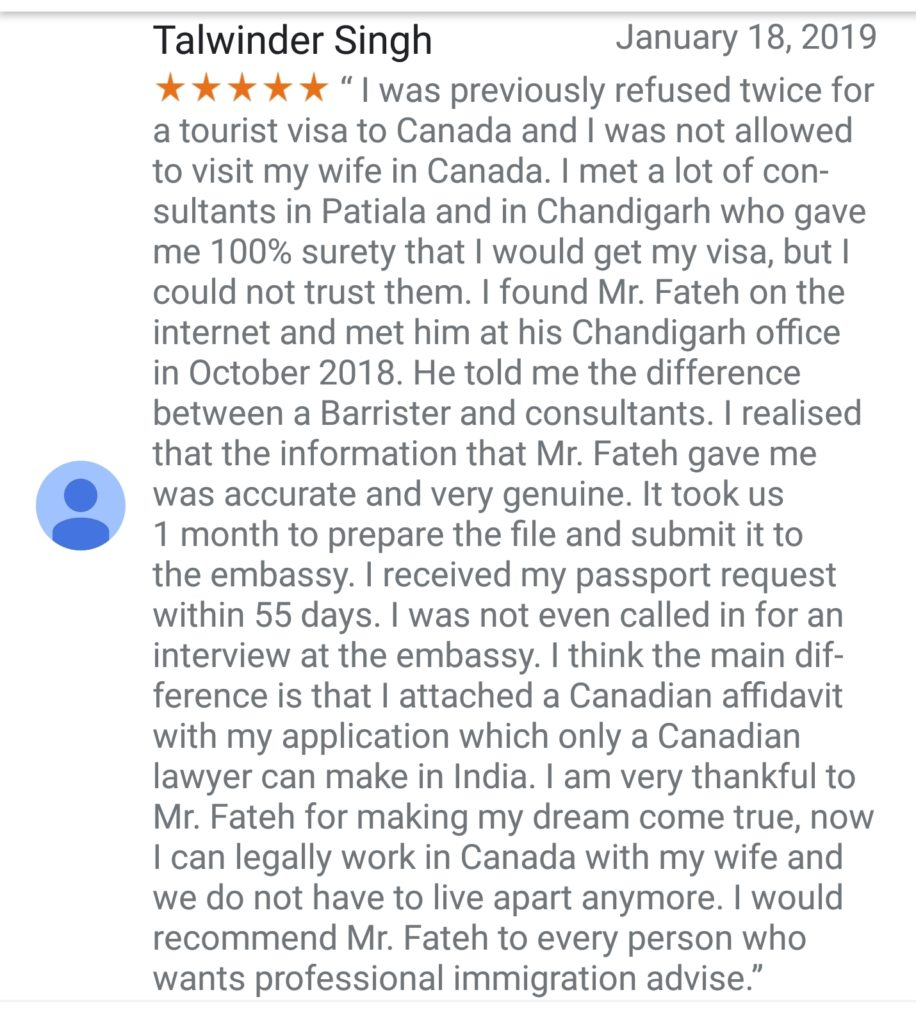 Spouse Visa Client Review